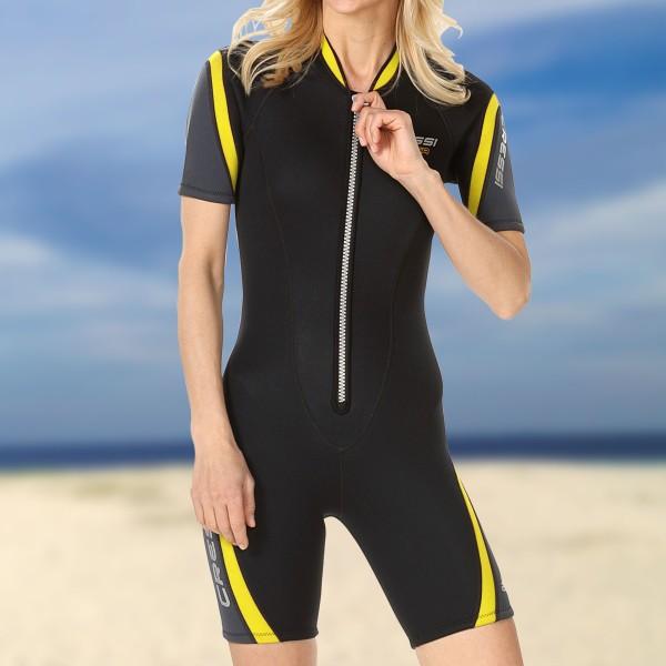 Cressi Wassersportanzug Shorty Playa 2.5 mm Neopren - Damen schwarz gelb