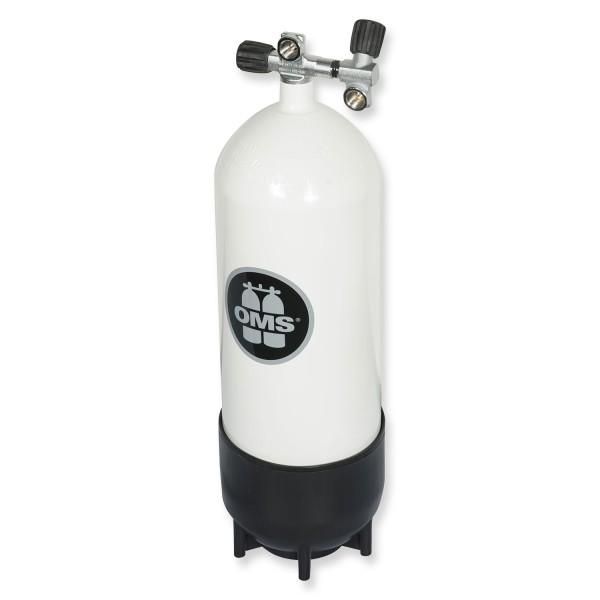 OMS - BTS Stahlflasche 15 Liter mit Ventil und Zweitabgang