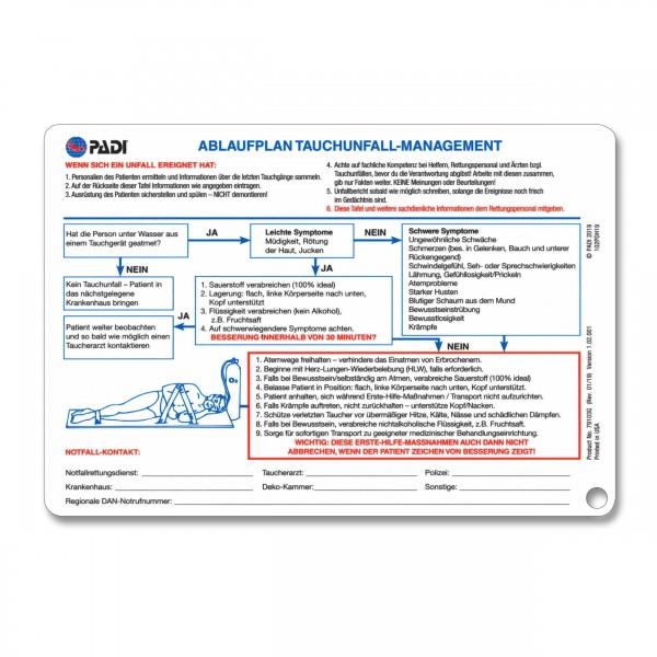 PADI Unfallmanagement-Tafel, hilfreiche Notfalltipps